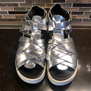 Sam Edelman Circus silver strappy moon sandals